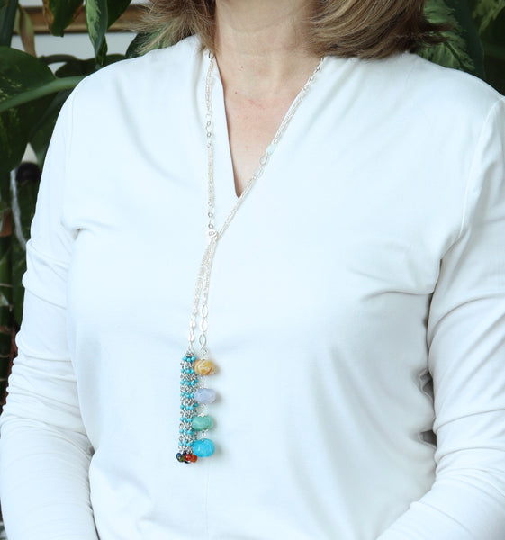 MULTICOLOUR AGATE AND TURQUOISE TASSEL SILVER HANDMADE NECKLACE