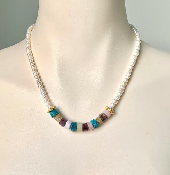 RAW GEMSTONES AND PEARL GOLD HANDMADE NECKLACE