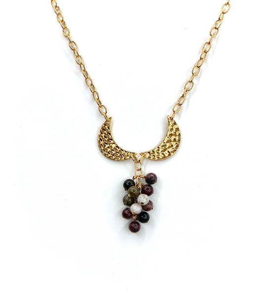 TOURMALINE CLUSTER GOLD MOON HANDMADE NECKLACE