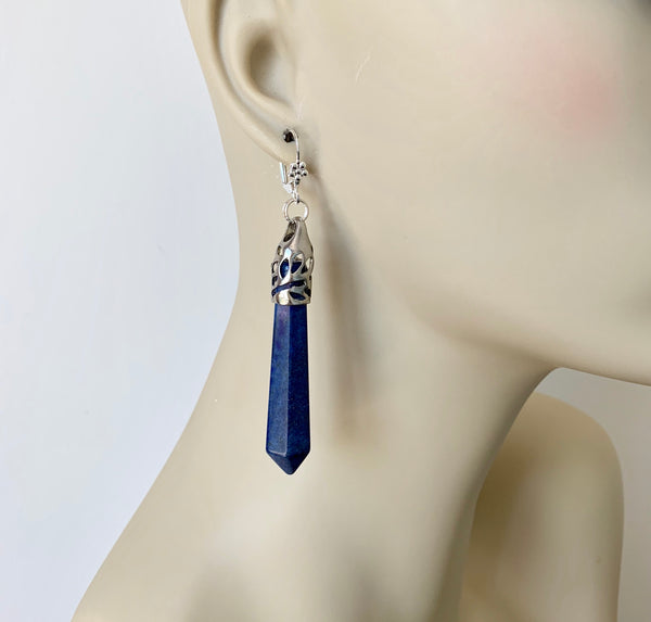 LONG LAPIS LAZULI HANDMADE SILVER DANGLING EARRINGS