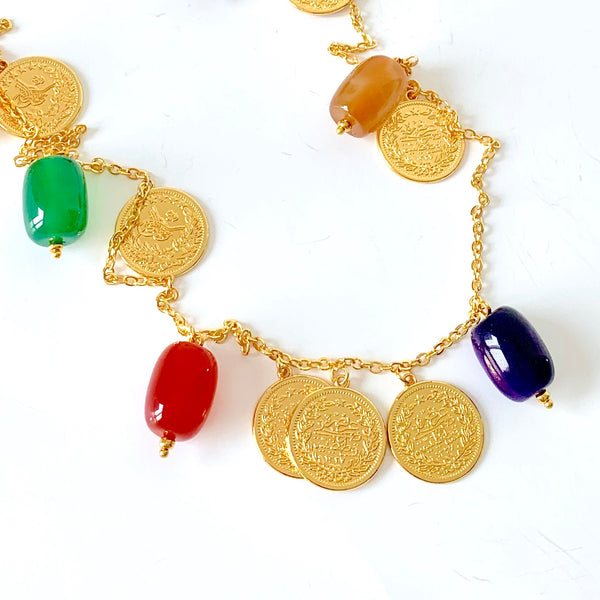 LONG GEMSTONE GOLD NECKLACE