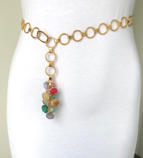 COLOURFUL GEMSTONE TASSEL BELT