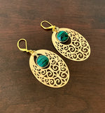 MALACHITE GEMSTONE HANDMADE DANGLING GOLD EARRINGS