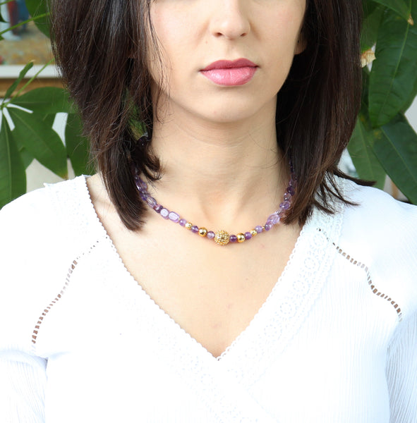 AMETHYST GEMSTONE HANDMADE GOLD CHOKER NECKLACE