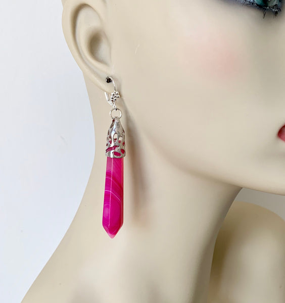 LONG PINK AGATE GEMSTONE HANDMADE SILVER DANGLING EARRINGS