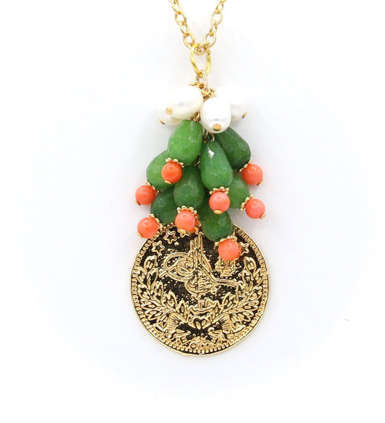 JADE CORAL PEARL AND GOLD COIN HANDMADE NECKLACE