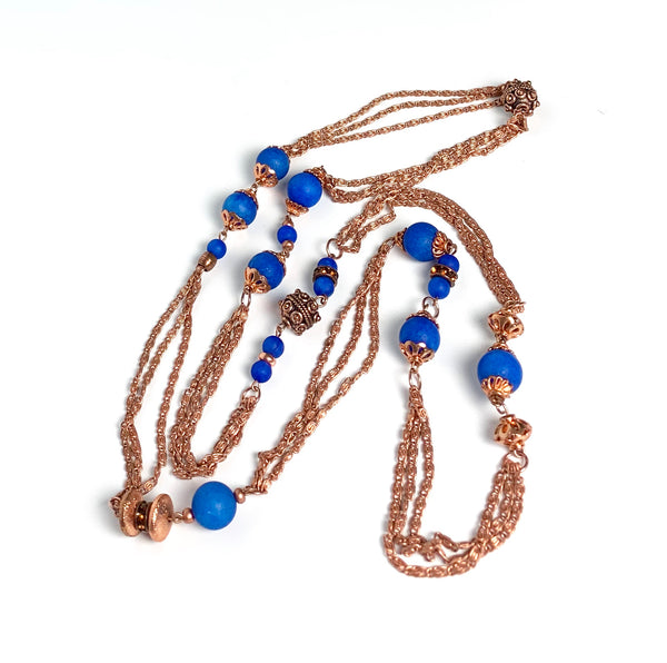 ROYAL BLUE MATT QUARTZ HANDMADE LONG COPPER CHAIN NECKLACE