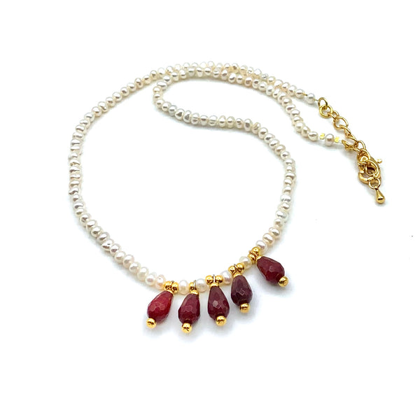 RED TEARDROP JADE AND PEARL GOLD HANDMADE NECKLACE