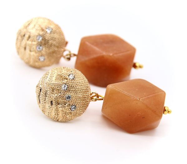 AGATE GEMSTONE GOLD EARRINGS