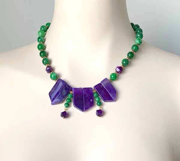 PURPLE AGATE AND GREEN JADE GEMSTONE GOLD HANDMADE NECKLACE