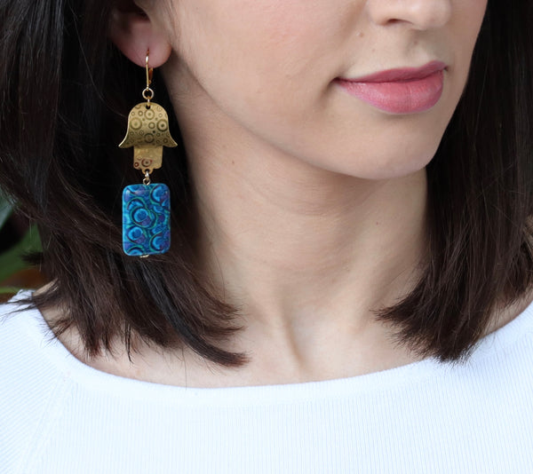 STATEMENT BLUE JASPER GEMSTONE AND GOLD HAMSA HAND HANDMADE EARRINGS