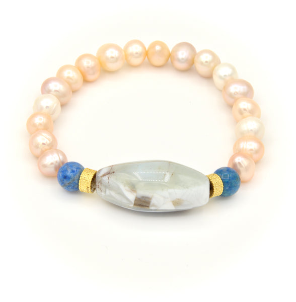 WHITE GRAY AGATE GEMSTONE AND PEARL HANDMADE GOLD BRACELET