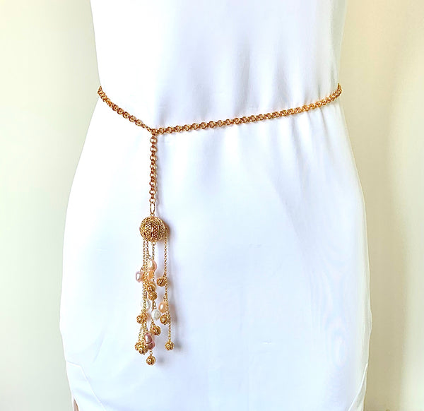 HANDMADE PEARL AND GOLD LINK CHAIN BELT FOR WOMEN
