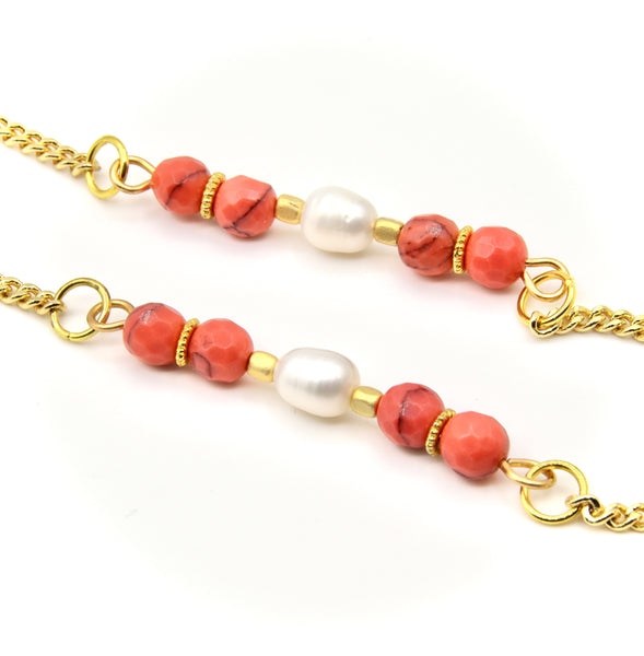 JASPER GEMSTONE AND PEARL HANDMADE GOLD EYEGLASS CHAIN