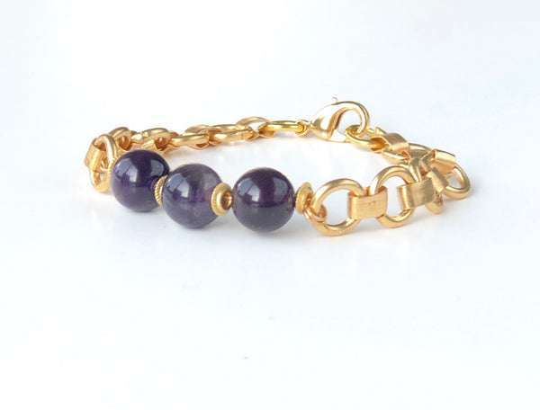 AMATHYST GEMSTONE AND ENAMELED BEAD HANDMADE LADIES GOLD BRACELET SET