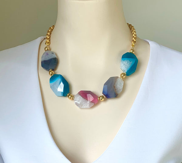 LARGE COLOURFUL AGATE GEMSTONES HANDMADE GOLD STATEMENT NECKLACE