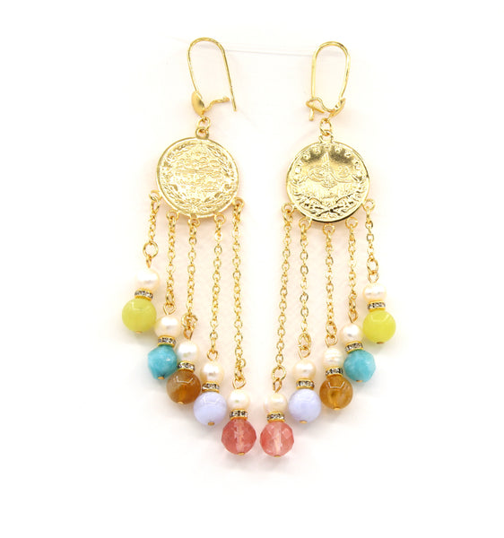STATEMENT MULTISTONE GOLD HANDMADE EARRINGS