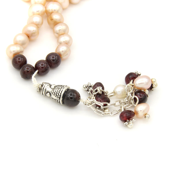 PEARL AND GARNET GEMSTONE SILVER HANDMADE MINI TASBIH