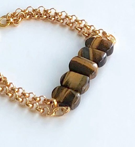 TIGER EYE DOUBLE GOLD CHAIN BRACELET