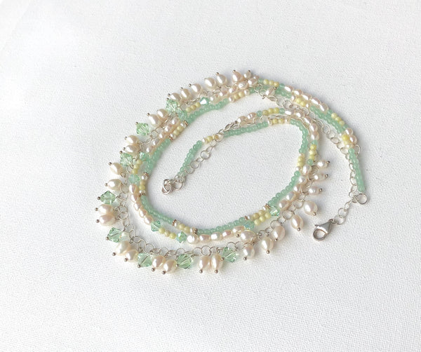 GREEN GEMSTONE AND PEARL SILVER HANDMADE NECKLACE