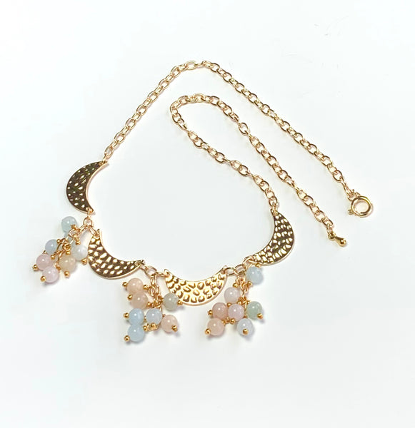 BERYL MIX GEMSTONE CLUSTER AND GOLD MOON HANDMADE NECKLACE