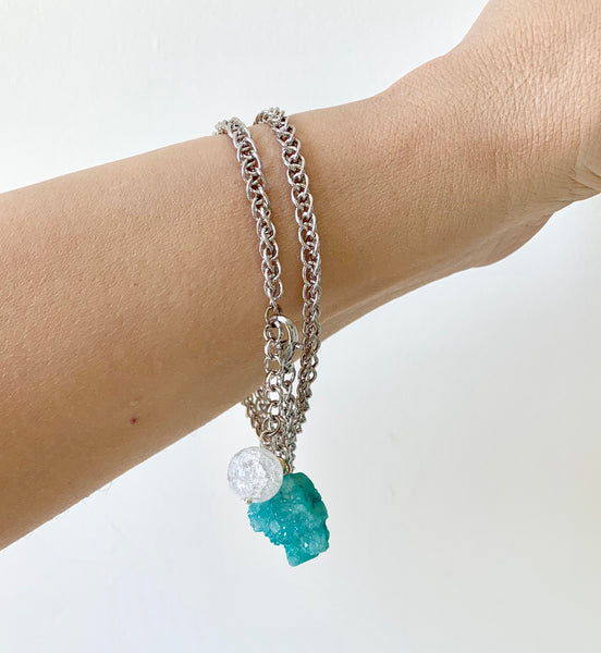 BLUE WHITE QUARTZ SILVER BRACELET