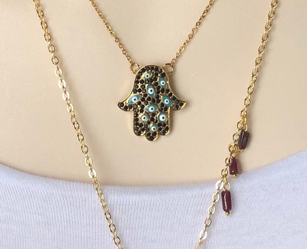 ISLAMIC HAMSA GOLD NECKLACE