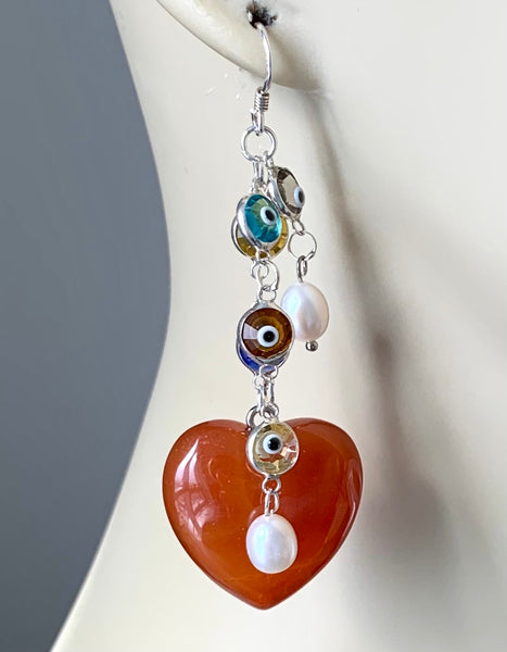 AVENTURINE AND EVIL EYE STERLING SILVER EARRINGS