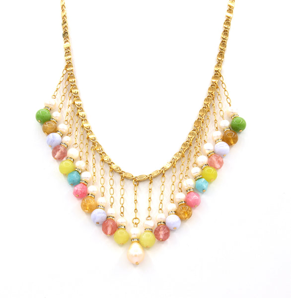 MULTICOLOUR GEMSTONE AND PEARL GOLD HANDMADE NECKLACE