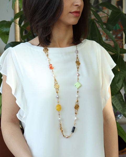 GOLD COIN GEMSTONE AND PEARL LONG HANDMADE NECKLACE
