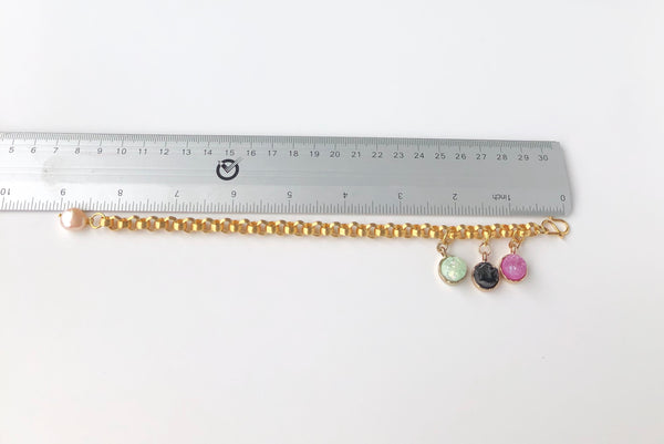 Three colour quartz bracelet