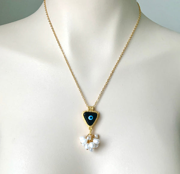 PEARL CLUSTER AND EVIL EYE GOLD HANDMADE NECKLACE