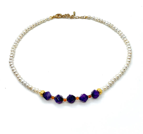 PURPLE AGATE AND PEARL GOLD HANDMADE NECKLACE