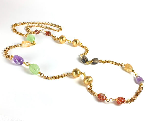 LONG GOLD MULTI GEMSTONE HANDMADE NECKLACE