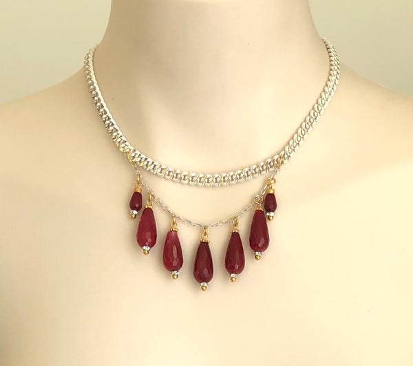 RED JADE SILVER NECKLACE