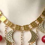 RED AGATE AND GOLD MOON STATEMENT HANDMADE NECKLACE