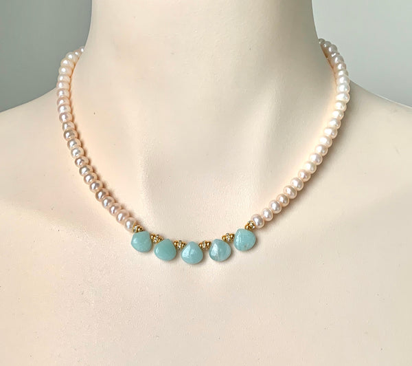 AMAZONITE GEMSTONE AND PEARL GOLD HANDMADE NECKLACE