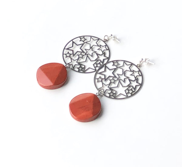 NATURAL JASPER GEMSTONE HANDMADE SILVER STATEMENT EARRINGS