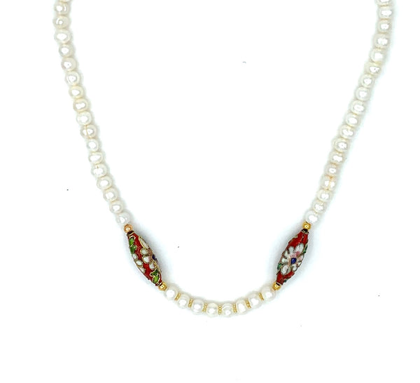 DELICATE PEARL AND RED ENAMELLED GOLD HANDMADE NECKLACE