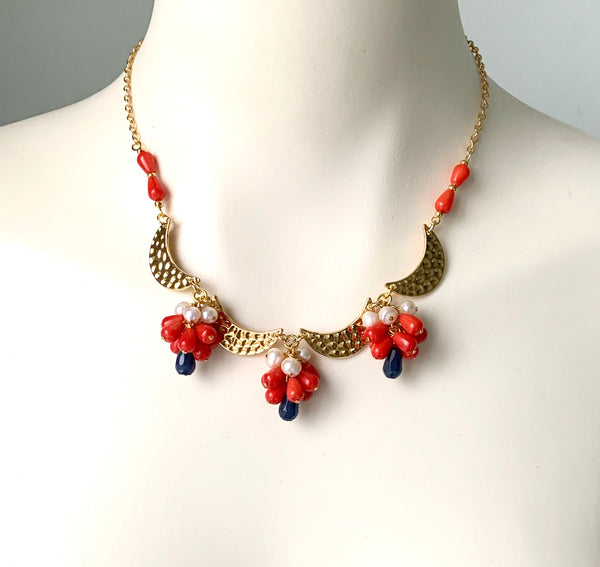 CORAL AND PEARL CLUSTER WITH GOLD MOON HANDMADE NECKLACE