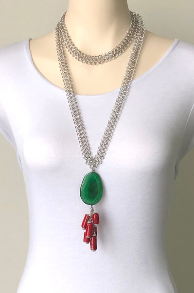 GREEN AGATE RED CORAL STATEMENT NECKLACE
