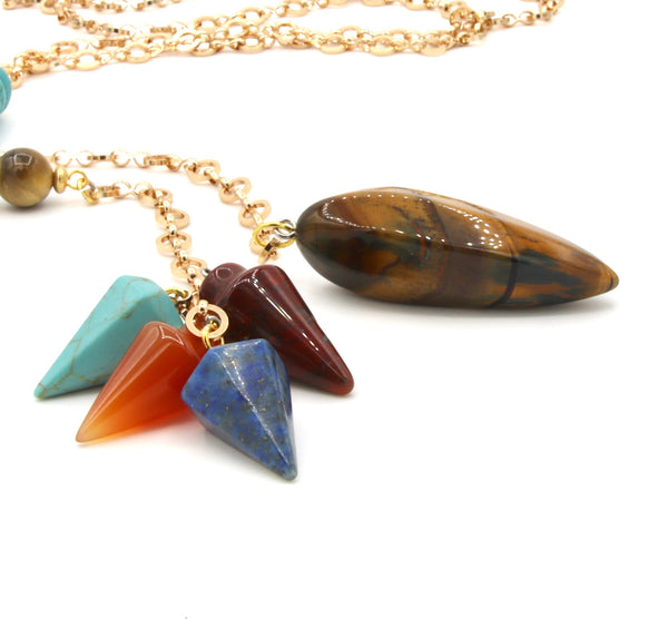 TIGER EYE AGATE HOWLITE TURQUOISE GEMSTONE HANDMADE LONG GOLD NECKLACE