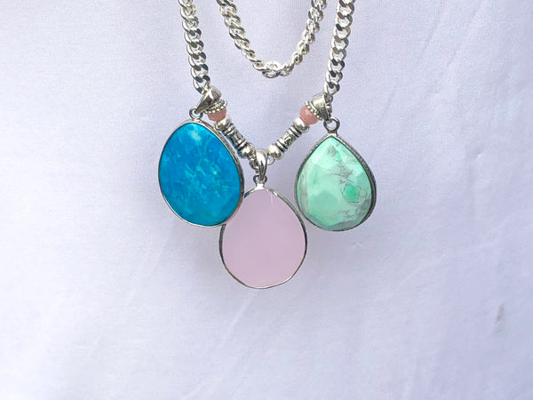 LONG GEMSTONE SILVER NECKLACE
