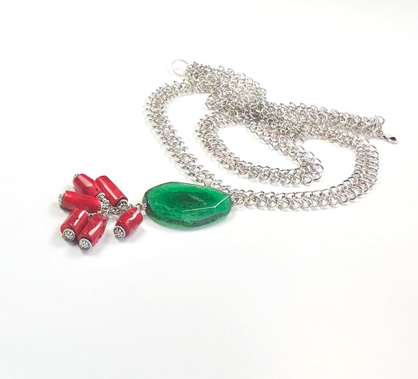 GREEN AGATE GEMSTONE AND RED CORAL HANDMADE SILVER STATEMENT NECKLACE