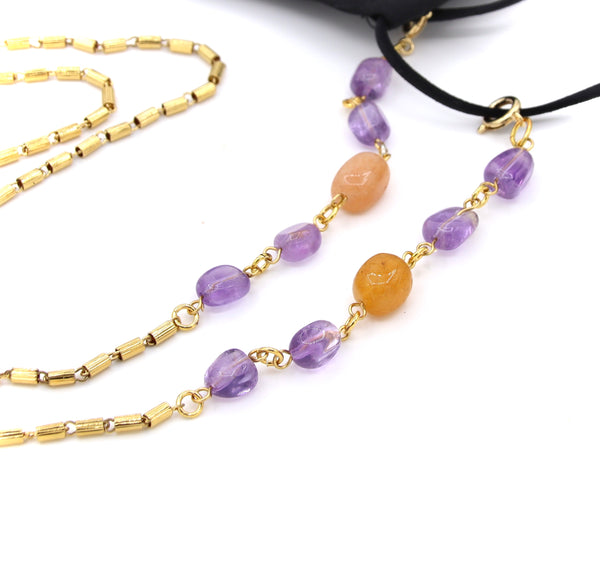 AMETHYST AND JADE GEMSTONE HANDMADE FACE MASK CHAIN