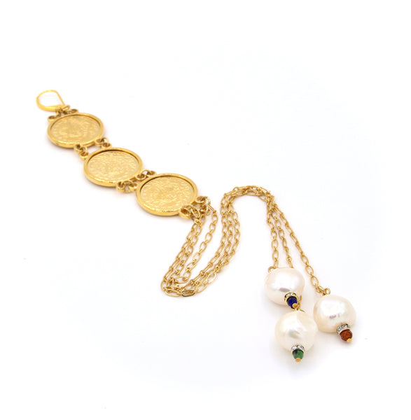 PEARL AND GOLD TURKISH COIN STATEMENT HANDMADE EARRINGS-NECKLACE