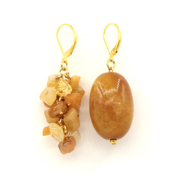 ASYMMETRICAL JADE GEMSTONE GOLD HANDMADE EARRINGS