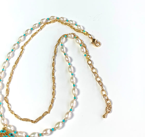 PEARL AND TURQUOISE GEMSTONE HANDMADE GOLD NECKLACE