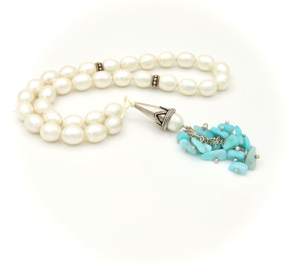 AMAZONITE GEMSTONE AND MOTHER OF PEARL SILVER HANDMADE TASBIH