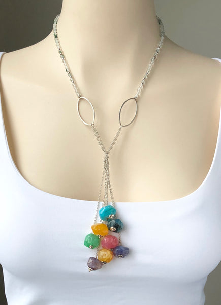 COLOURFUL AGATE TASSEL NECKLACE